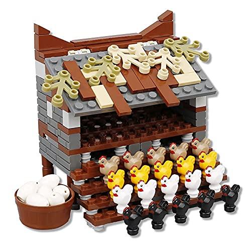 Model Building Blocks City Farm Animals Building Blocks for Kids MOC Bricks Parts Chicken Coop Hen House Toys for Children Boy Girl DIY Gifts (Chicken coop)