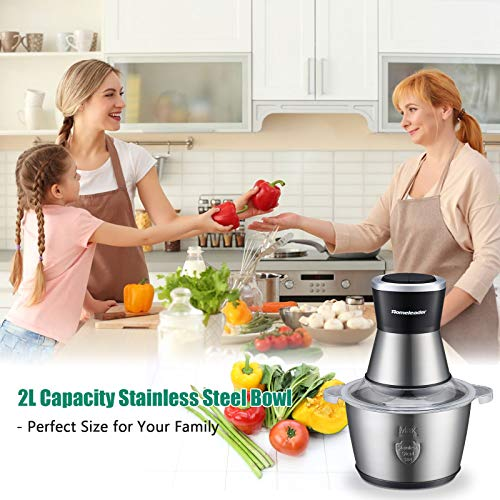 Electric Food Chopper,Homeleader 8-Cup Food Processor,2L BPA-Free Stainless Steel Bowl Blender Grinder for Meat,Vegetables,Fruits and Nuts,400W