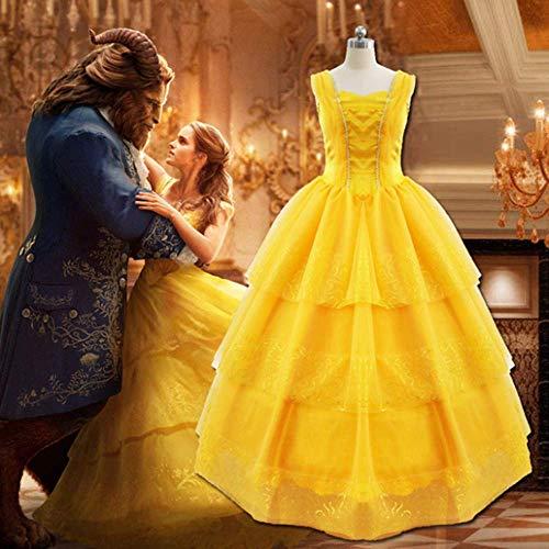 Gogh Halloween Beauty Princess Kostuum Schoonheid en Beest Party Kostuums met Rok Ondersteuning in Belle Princess Jurk Geschikt voor Halloween Cosplay En Party