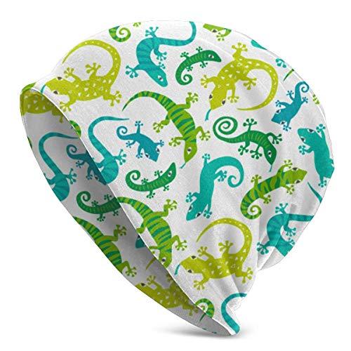 Nuevos Animales Lindos Cute LizardsUnisex Mujeres Hombres Slouchy Beanie Hat Gorro de Calavera Holgado de Gran tamaño Gorro de Punto elástico