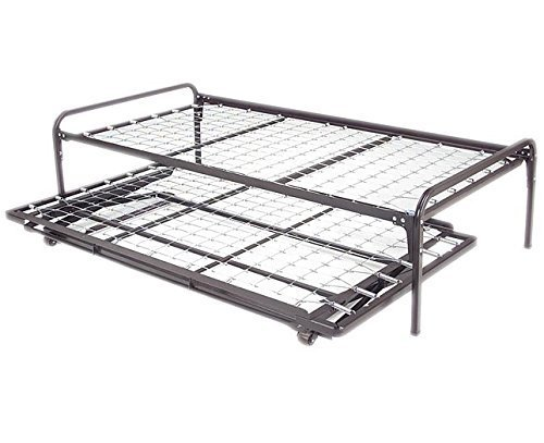 Twin Size Dark Black Metal Day Bed (Daybed) Frame & Pop Up Trundle (39'' Twin Size)