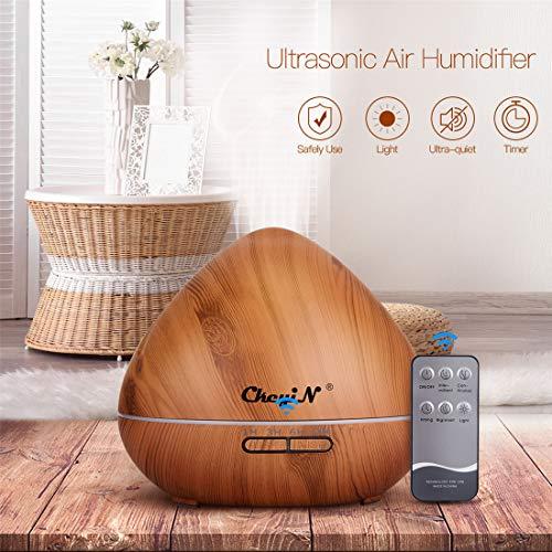 550ml Diffuseur d'arôme,7 Trous Diffuseur d'Huile Essentielle/Humidificateur Ultrasonique Sans BPA- 7 Couleurs+3 Réglages de...
