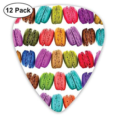 Gitaar Picks12pcs Plectrum (0.46mm-0.96mm), Franse Macarons In Een Rij Koffie Shop Cookies Smaken Gebak Bakkerij Design,Voor Uw Gitaar of Ukulele