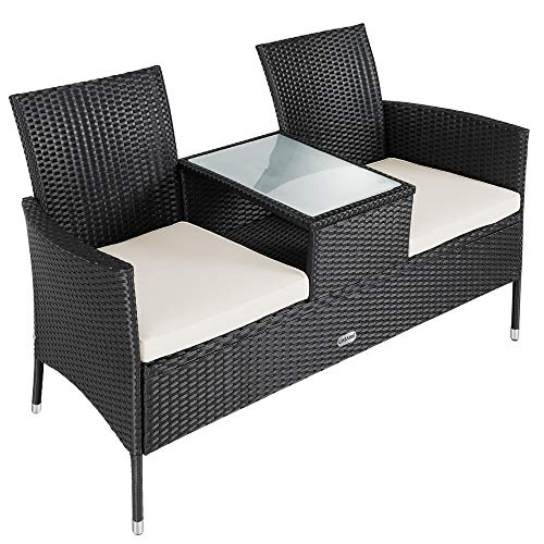 Casaria Love Seat Companion 2 Seater Bench Poly Rattan Glass tabletop Garden Patio Black Outdoor Balcony Terrace Comfortable Black Cream