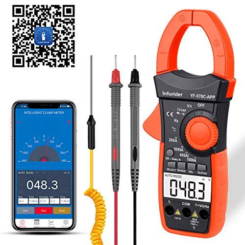 Pinza Amperimétrica Digital YF-570C-APP Profesional Multímetro, 4000 Cuenta un Multímetro de Corriente AC DC Volt de Rango Automático para Conexión Bluetooth con Resistencia, Capacitancia
