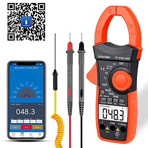 INFURIDER Digital Clamp Meter Stromzange Multimeter,Auto Range Strommessgerät mit 4000 Counts Genaue Messung von Spannung, Strom, Widerstand, Kapazität, Temperatur, Durchgang mit APP über Bluetooth