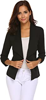 Qearal Womens Solid 3/4 Ruched Sleeve Open Front Draped...