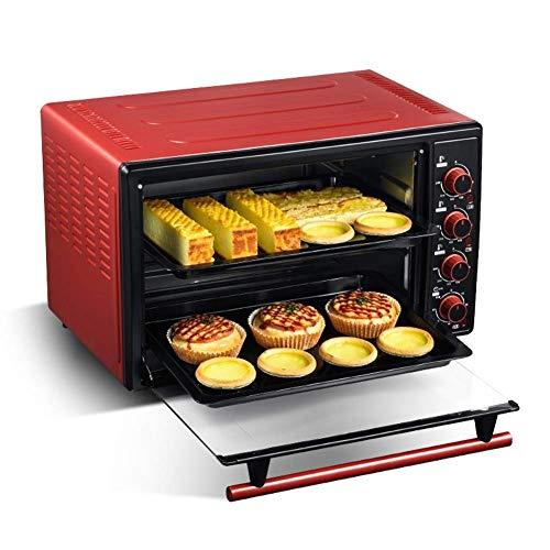 PLEASUR 45L Elektroofen , Arbeitsplatte Ofen Neun Heizrohre Inklusive Doppelbackform, Grillnetz und Backformgriff - Rot