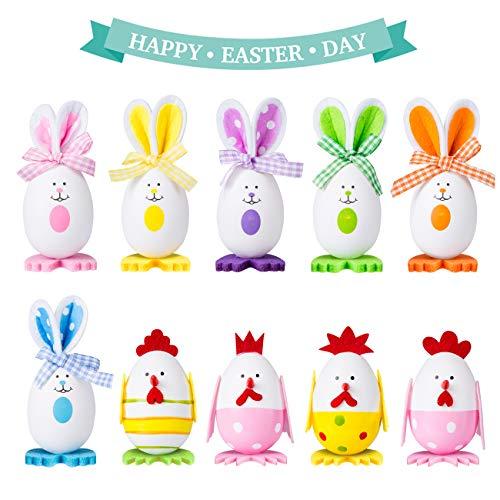 Naler 10 Uova Colorate Pasquali Uova a Forma di Coniglio e Pulcino Uova Decorative da Tavolo Decorazione di Pasqua, 6 Conigli + 4 Pulcini, 4x6CM