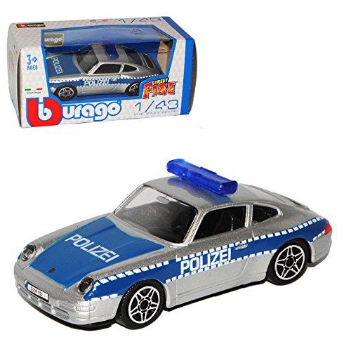 Bburago Porsche 911 993 Coupe Polizei Blau 1993-1998 1/43 Modell Auto