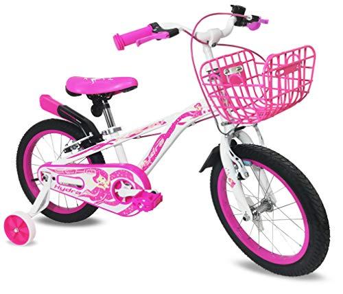 Bici bambina 16'' bicicletta Kron Hydra bimba rosa bianca fucsia rotelle cestino (Bianco - Fucsia)