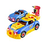 Take Apart Toy Racing Car,Toy Car Comes with Engine Sounds & Lights & Drill with Toy Tools for Kids -Build Your Own Car Toy for Boys & Girls Age 3, 4, 5, 6 yrs - Old Best Gift for Kids