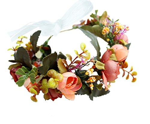 Floral Wreath Headband Flower Wreath Crown Hair Wreath Hair Garland Flower Halo Floral Headpiece Boho with Ribbon Party Wedding Festival Orange by Brikuinr