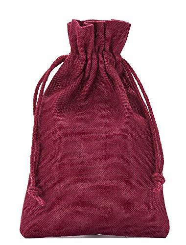12 Baumwollsäckchen, Baumwollbeutel in Größe 23x15 cm mit Baumwollkordel, Geschenksäckchen, Adventskalender (Bordeaux)