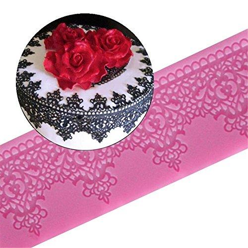 Silikon-Matte mit Blumen-Spitzen-Muster, für Kuchendekorationen aus Zuckerfondant, 19 x 7 x 3 cm