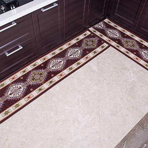 OPLJ Pastoral alfombra cocina alargada antideslizante pasillo dormitorio jacquard alfombra Europea puerta piso A3 40x120cm