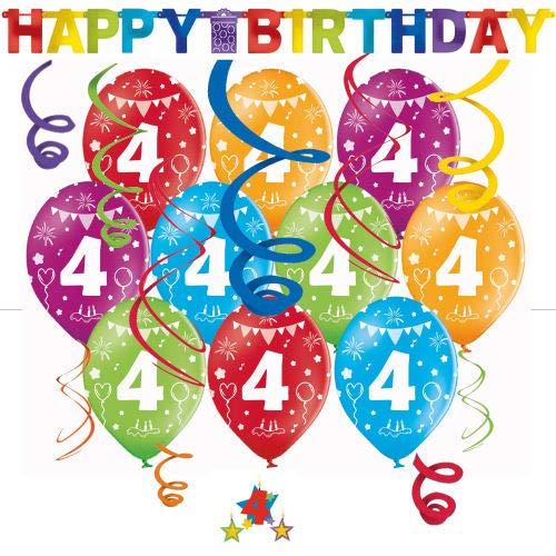 Libetui Geburtstag Dekoration Deko-Set 'Stern' Kindergeburtstag Happy Birthday Bunte Partykette farbenfrohe Girlande Spirale Luftballons und Geburtstags-Kerzen (4. Geburtstag)