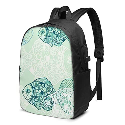 Laptop Rucksack Business Rucksack für 17 Zoll Laptop, Wasser Fisch Aquarium Umgebung Schulrucksack Mit USB Port für Arbeit Wandern Reisen Camping, für Herren Damen