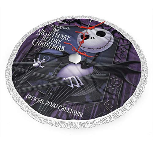 JAWANNAN The Nightmare Before Christmas Merry Christmas Tree Skirt for Xmas Holiday Party Supplies Large Tree Mat Decor Ornaments 30'
