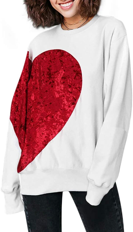 Honwenle Women Round Neck Velvet Red Heart Pattern Long Sleeve Hoodie