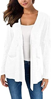 Women Winter Warm Long Sleeve Open Front Draped Shawl Collar Cardigan