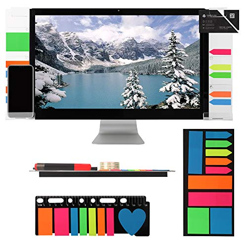 Computer Monitor Memo Board Holder - Acrylic Memo Board Sticky Note Organizer - Monitor Side Panel Memo - Computer Monitor Accessories for Office with Phone Holders