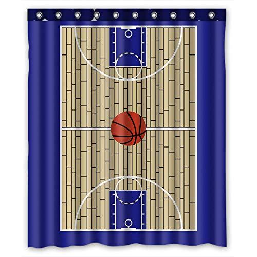 N \ A Cortina de ducha de campo de baloncesto personalizada impermeable baño de poliéster 60 pulgadas x 72 pulgadas