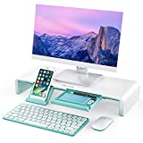 Monitor Stand Riser, Jelly Comb Foldable Computer Monitor Riser, Computer Stand with Storage Drawer, Phone Stand for Computer, Desktop, Laptop, Save Space (White Mint Green)