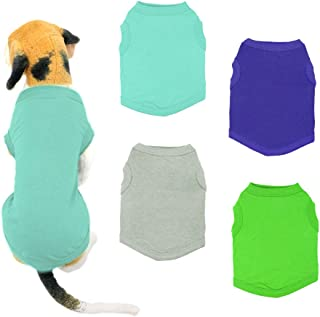 wei/ß /ärmellos Baumwolle Petitebelle Welpen-Kleidung Uni Hunde-Kleid T-Shirt