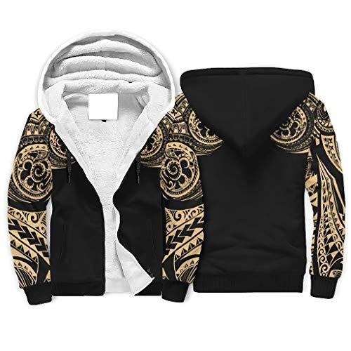 Sudadera con capucha polinesia para hombre, protección contra el frío, manga larga, color blanco, XL