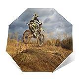 Paraguas Plegable Automático Impermeable Deporte Aventura Bicicleta Motocicleta, Paraguas De Viaje Compacto a Prueba De Viento, Folding Umbrella, Dosel Reforzado, Mango Ergonómico
