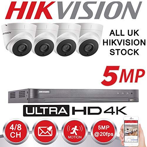 HIKVISION - Kit di telecamere di sorveglianza, 5 MP, 4 K, UHD, DVR, 4 canali, HD 2 TB HDD