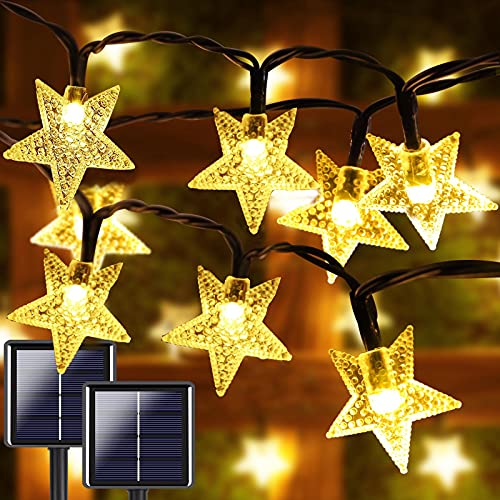 2-Pack 200 LED 40FT Star Solar String Lights Outdoor, Star Solar Lights Outdoor Decorative with 8 Lighting Modes, Solar Powered Patio Lights for Garden Yard Wedding Christmas Party (Warm White)