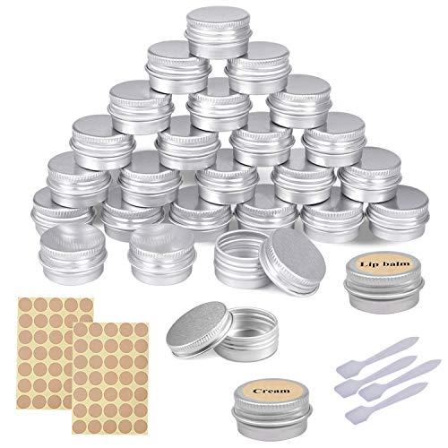 URFUN 24 Salben-Tiegel 5ml Kosmetik-Tiegel kleine Lippenbalsam-Döschen mini Creme-Dosen leer Aluminium Dose mit Deckel