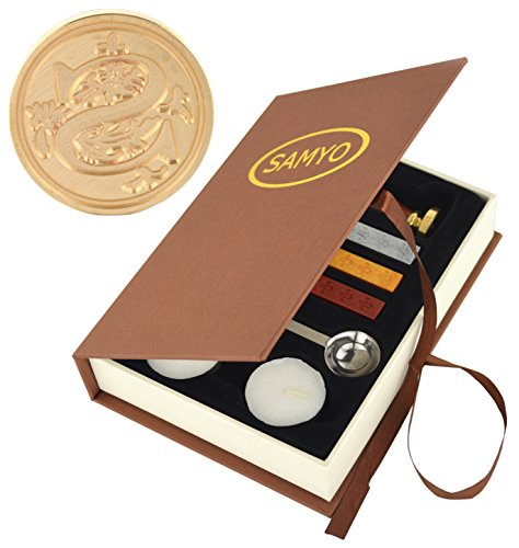 Samyo Wax Seal Stamp Kit Retro Creative Sealing Wax Stamp Maker Gift Box Set Brass Color Head with Vintage Classic Alphabet Initial Letter (S)