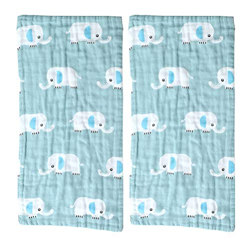 Cabilock 2pcs Baby Washcloth Face Cotton Towels 6 Layer Gauze Towels High-density for Newborn Kids Shower Washing Hand Face Cloth Random Pattern