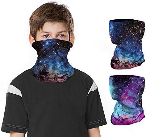 2 PCS Kids Face Mask Neck Gaiters Full Coverage Bandanas Headband Tube Neck for Boys Girls A product image