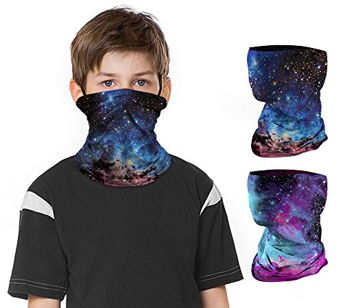 2 PCS Kids Face Mask Neck Gaiters Full-Coverage Bandanas Headband Tube Neck for Boys Girls, School Supplies for Kids(A Galaxy 1, 7-10T/8.2713.39inch)
