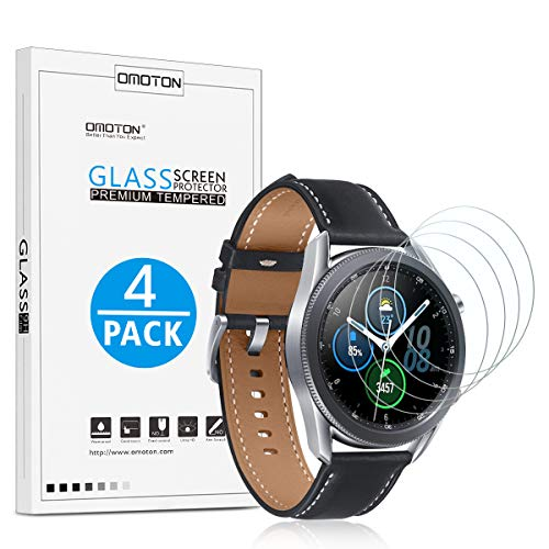 [4 Pack] OMOTON Screen Protector for Samsung Galaxy Watch 3 45mm - Tempered Glass Bubble Free Scratch Resistant