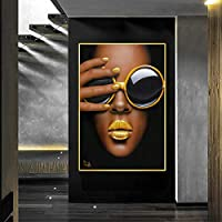 キャンバスに印刷ガラスの女の子黄色い唇ポスター壁アート写真リビングルームポスターキャンバス絵画家の装飾-60x80cmフレームなし