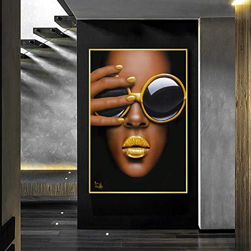 Domrx Impresión en Lienzo Chica con Gafas Póster de Labios Amarillos Imágenes artísticas de Pared para Carteles de Sala de Estar Pintura en Lienzo Decoración para el hogar-60x80cm Sin Marco