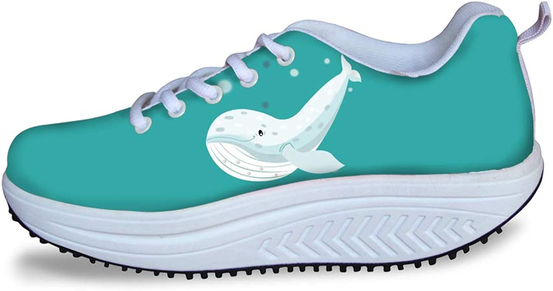 Owaheson Swing Platform Toning Fitness Casual Walking shoes Wedge Sneaker Women Cute Smiling Beluga Whale