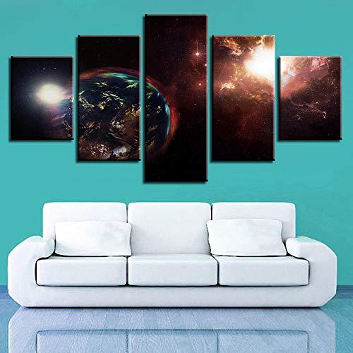 EIGYU 5 lienzos artísticosEscena Nocturna Abstracta del Planeta tierrade Pintura artísticala decoración delpara Interiores de-with Frame-110x60Cm