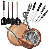 San Ignacio Copper Plus Set 3 Sartenes + 4 Cuchillos + 4 Utensilios, Aluminio Prensado, Multicolor