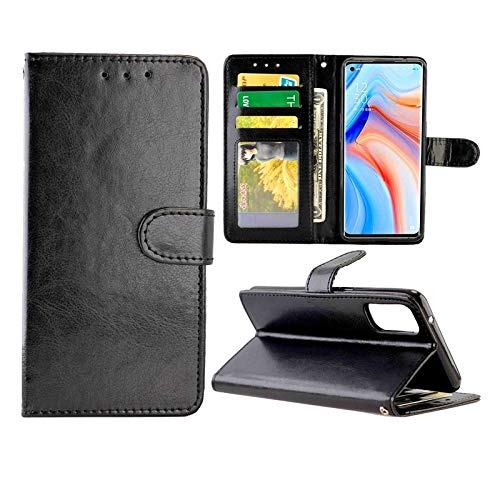 Huawei Cases for Oppo Reno4 Pro Crazy Horse Texture Leather Horizontal Flip Protective Case with Holder & Card Slots & Wallet & Photo Frame Huawei Cases (Color : Black)