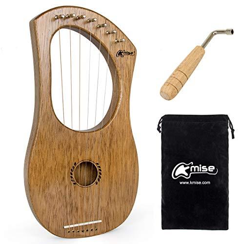 Kmise Lyre Harp, 7 Steel String Bone Sattellauge Harfe mit Stimmschlüssel und schwarzer Gigbag (Kasra)
