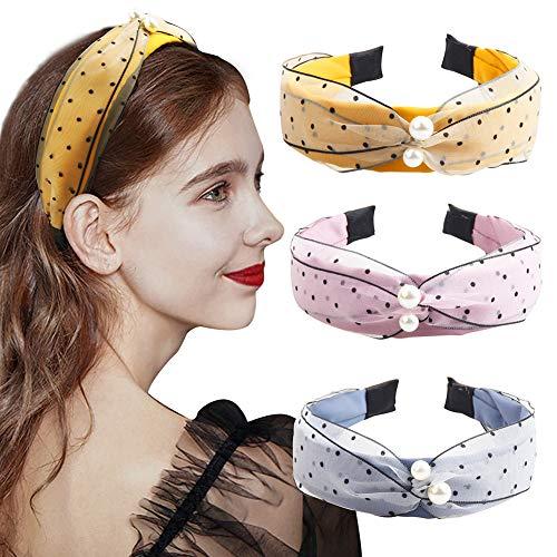 3 diademas de perlas de Hogoo con nudos de tela de gasa con perlas de imitación de nudo, diademas de cabeza ancha vintage accesorios para el pelo para mujeres