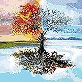 clockfc Pintura Digital Pintura al óleo Digital Resumen Four Seasons Tree Color Set para niños Estudiantes Adultos Wall Art 40x50cm con Marco