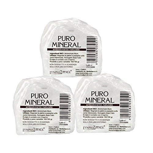 Puro Mineral Deo Kristall Steine – 100% Natürliches Deo ohne Aluminium Chlorohydrat - Stones Kit Gewicht 500/525 gr – Vorteilspack 3/5 Steine