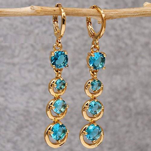 HoopsEarringsForWomen,Fashion Blue Round Zircon Long Pendant Hoop Earrings Hypoallergenic Lightweight Hoop Ring Circle Jewelry Earrings For Women Girls Party Wedding
